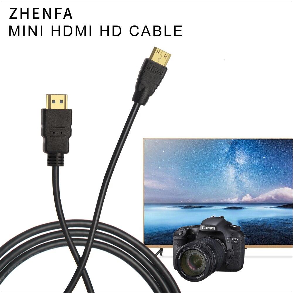 Zhenfa 1.5 m 3m 5 m mini hdmi para hdmi cabo para câmera nikon dslr d5300 d7000 d90 d600 d800 d800e d3100 d3200 d5100 d5200