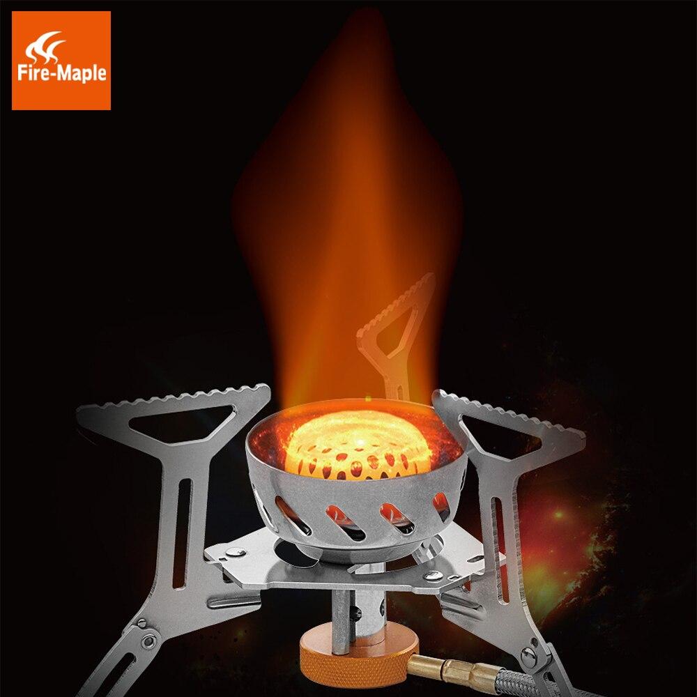 Estufa ignífuga de Gas de Arce, estufa a prueba de viento para cocina al aire libre, estufa de propano para acampada y senderismo, acero inoxidable 312g