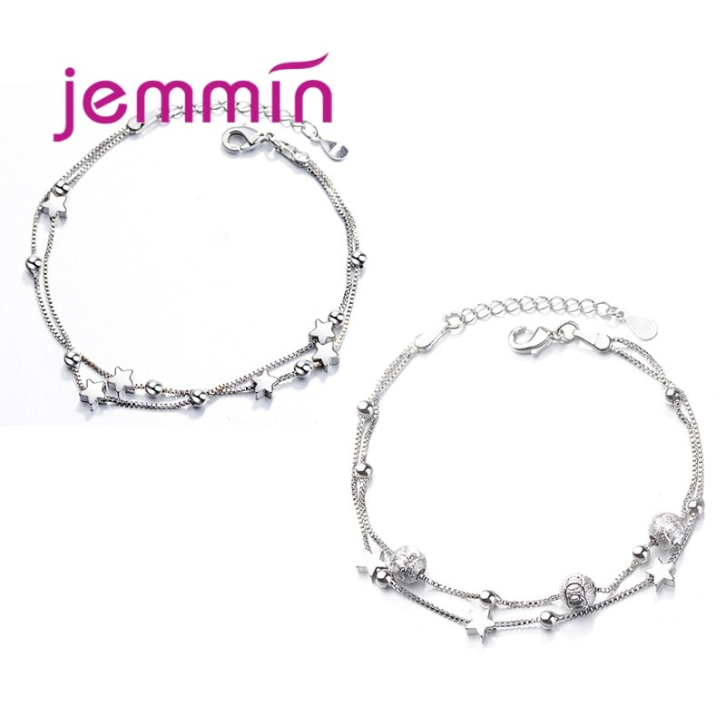 925 Sterling Silver Charm Bracelet For Women Girls Wedding Engagement Cute Romantic Style Star Shape Best Gift For Beloved