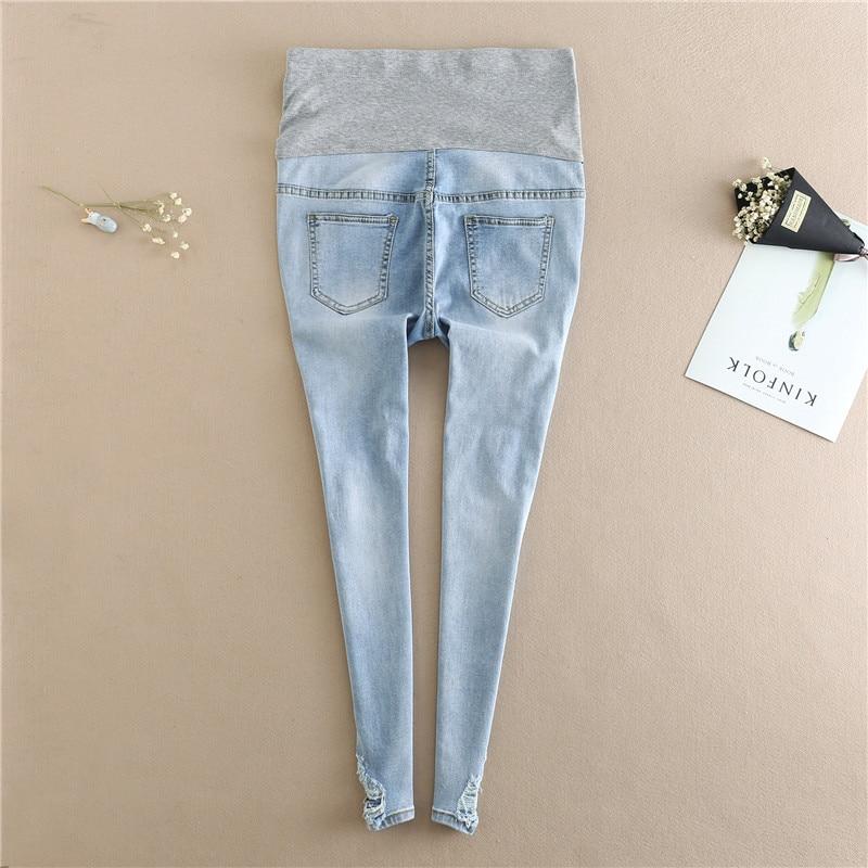 Nursing Maternity Trousers 2019  Autumn Ripped Hole Pencil Pants Clothes For Pregnant Women Embroidery Flower Denim Pants E0093 enlarge