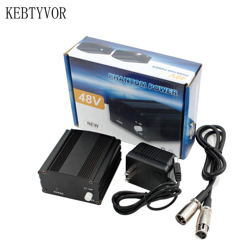 Fuente de alimentación Phantom Power 48V profesional con adaptador 1M Cable de Audio XLR para micrófono condensador, grabación de voz música en estudio
