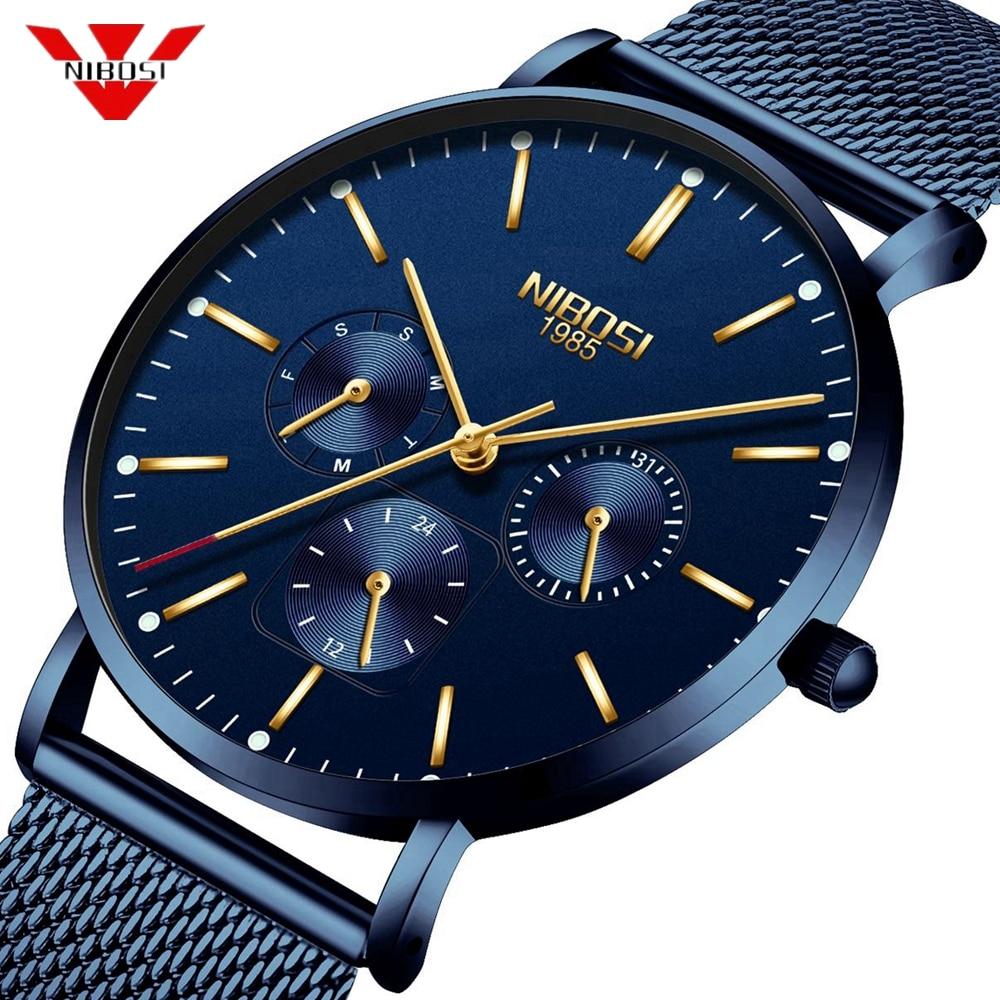 Часы NIBOSI мужские, тонкие, сетчатые, водонепроницаемые, минималистичные, наручные, кварцевые, спортивные, ультратонкие