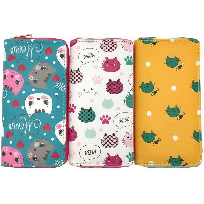 KANDRA lindo gato PU cuero mujeres carteras largas de gran capacidad dibujos animados señoras embrague teléfono bolsillo mujeres tarjeta titular efectivo bolso