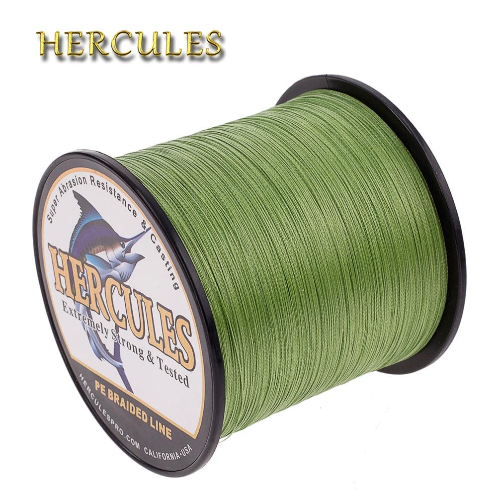 Hercules Fishing Line 100M 300M 500M 1000M 1500M 2000M Carp Fishing Cord 4 Strands Army Green PE Braided Wire 6-100LB Pesca