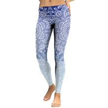 JIGERJOGER 2018 printemps décoloration bleu royal serré Mandala leggings filles maigres salle de sport pantalons de course ventes dusine livraison directe gratuite