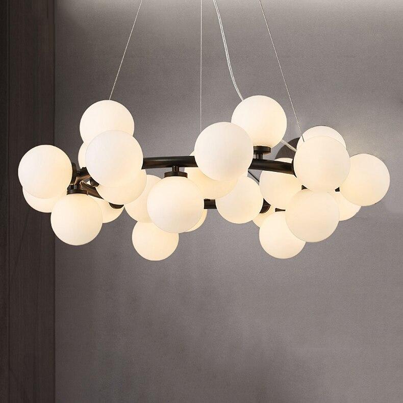 Lampes suspendues post-morden modèle adn bulle de verre 25 lumières G4 lampe à LED lampes suspendues noir/or lampe suspendue