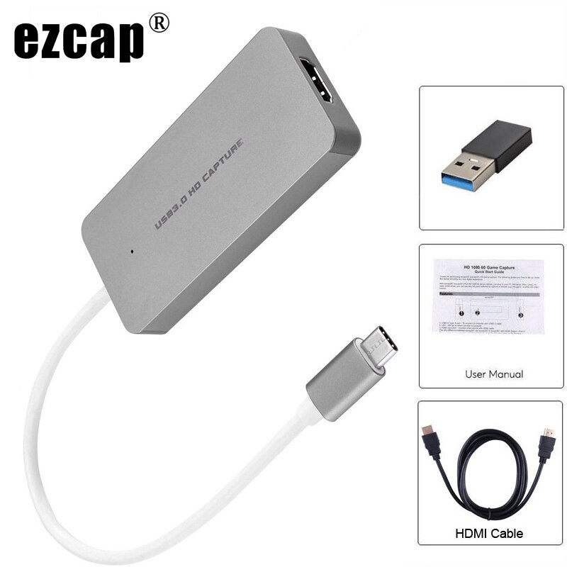 HDMI a tipo C USB3.0 1080P Tarjeta de captura de vídeo Grabber teléfono PS3 PS4 juego Streaming en directo para Macbook Mac Windows Win10 + 4K Cable