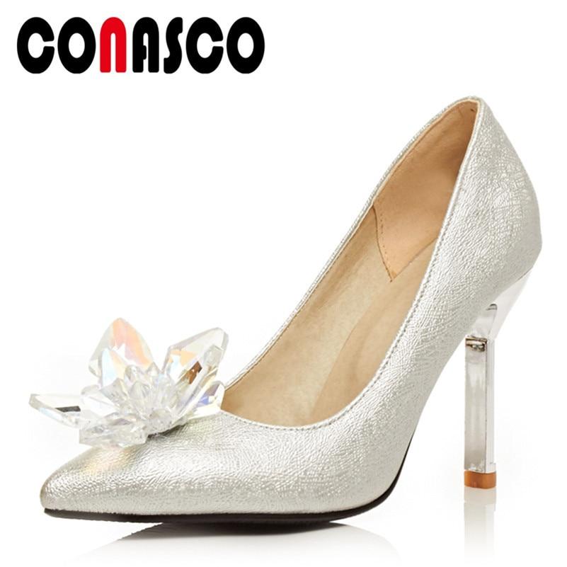 Festa de Casamento Sapatos de Baile Conasco Moda Feminina Bombas Básicas Primavera Verão Strass Saltos Altos Mulher Elegante Rasa