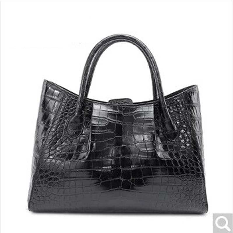 Weitasi pele de crocodilo bolsa feminina grande saco de pele de crocodilo rosto completo sem costura grande capacidade saco preto marrom