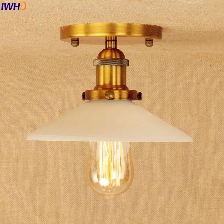 IWHD White Glass LED Ceiling Light Plafon Golden Living Room Retro Loft Style Industrial Vintage Ceiling Lights Edison Lighting