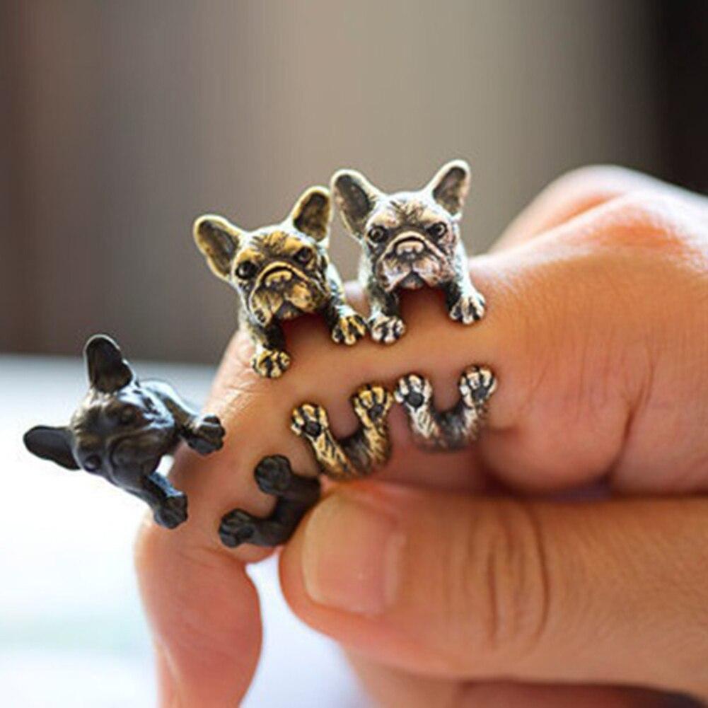 Ajustable Retro Bulldog aberturas anillo Unisex Animal Pit Bull perro joyería Punk