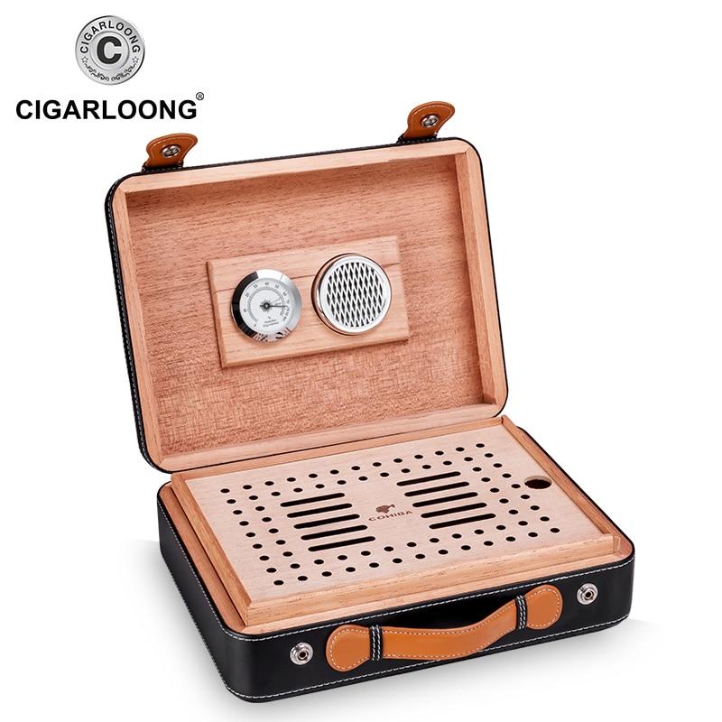 Genuine Leather Cigar Humidor Cabinet Spanish Cedar Wood Cigar Case Portable Moisturizing Cigar Box Luxury Big Capacity 50pcs enlarge