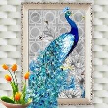 % 5D Diamond Embroidery DIY Beautiful Blue Peacock Pictures Diamond Mosaic Needlework Cross Stitch Kits Home Decor Canvas