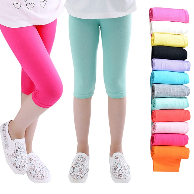 3-10years Girls Knee Length Kid Fifth Pants Candy Color Children Cropped Clothing Spring-Summer All-matches Bottoms Leggings