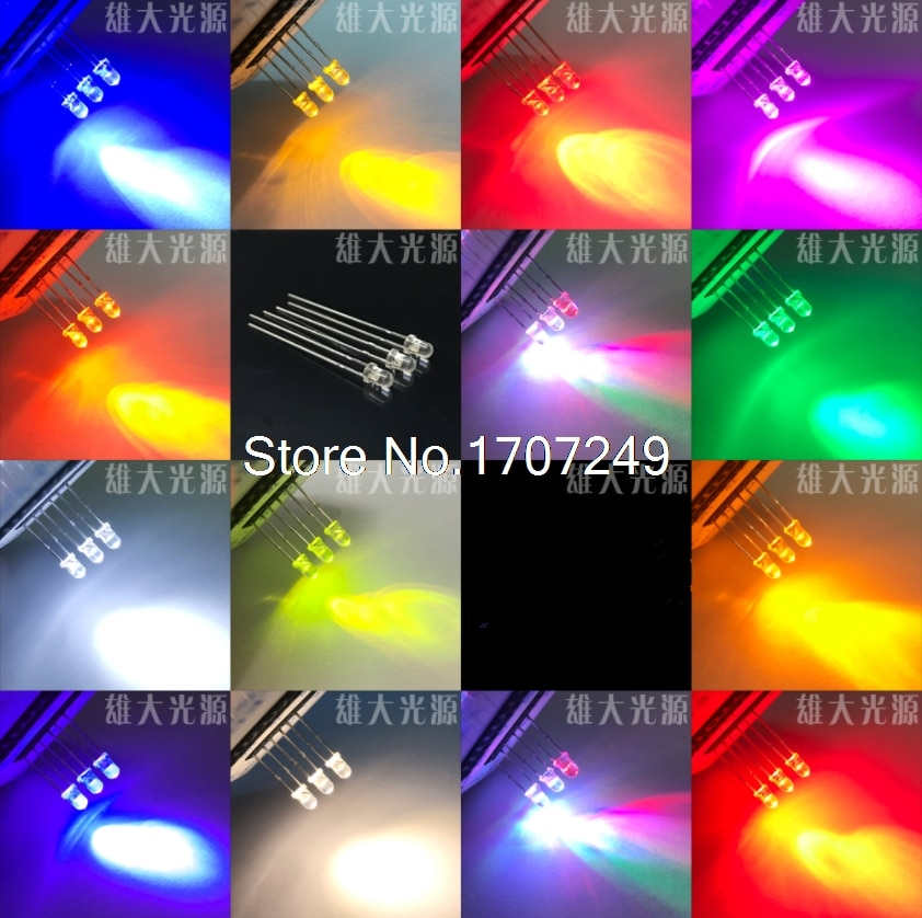 1000 Uds 3mm led blanco/blanco cálido/amarillo/naranja/azul/Verde/amarillo verde/Rojo/rosa/púrpura/3 MM diodo led de color blanco