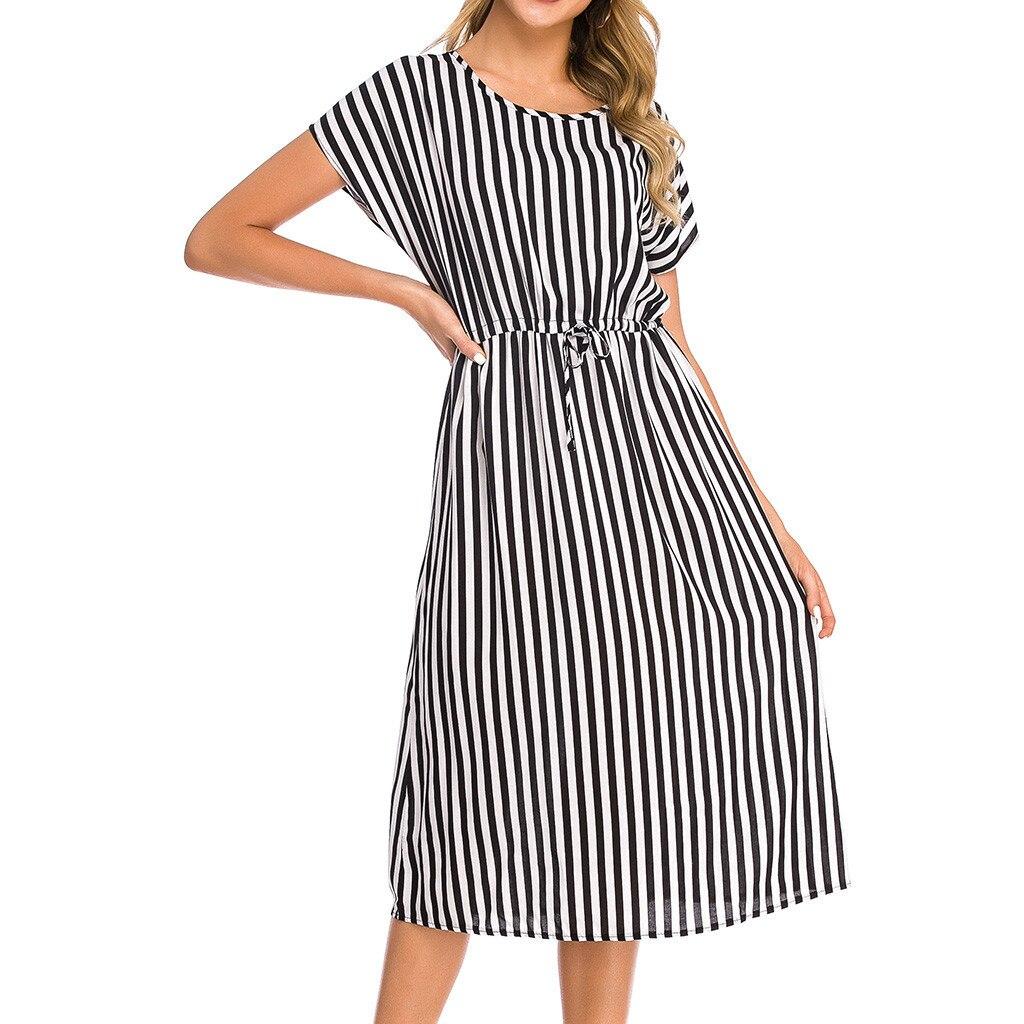 CHGOISIO 2019 New Summer Women Dress Casual Vintage Striped Print Short Sleeve O-neck Mid-calf Dresses Robe Femme 9617
