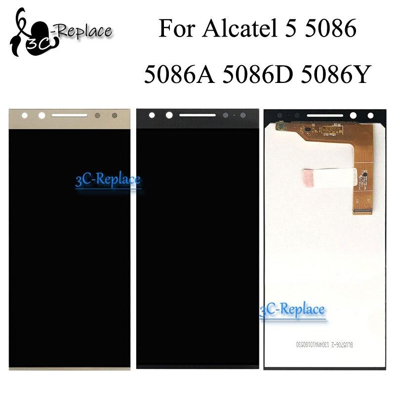 100% probado negro/oro 5,7 pulgadas para Alcatel 5 5086 5086A 5086D 5086Y LCD pantalla táctil digitalizador montaje reemplazo