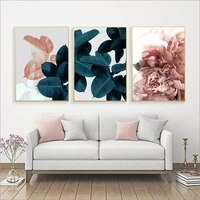 scandinavian style green plant flower painting wall art canvas posters nordic prints decorative picture modern home bedroom deco