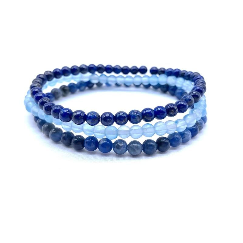 3pcs / Set Natural Stone Beads Women Girls Yoga Bracelet Sets 18-18.5 CM Nature Lapis Sodalite Blue agates Jewelry For Her #4