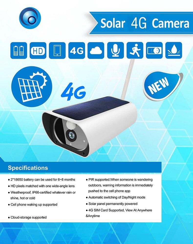 SmartYIBA 1080 P, cámara IP con energía Solar, Tarjeta SIM inalámbrica 4G, cámara CCTV de seguridad al aire libre con detección de movimiento de carga Solar