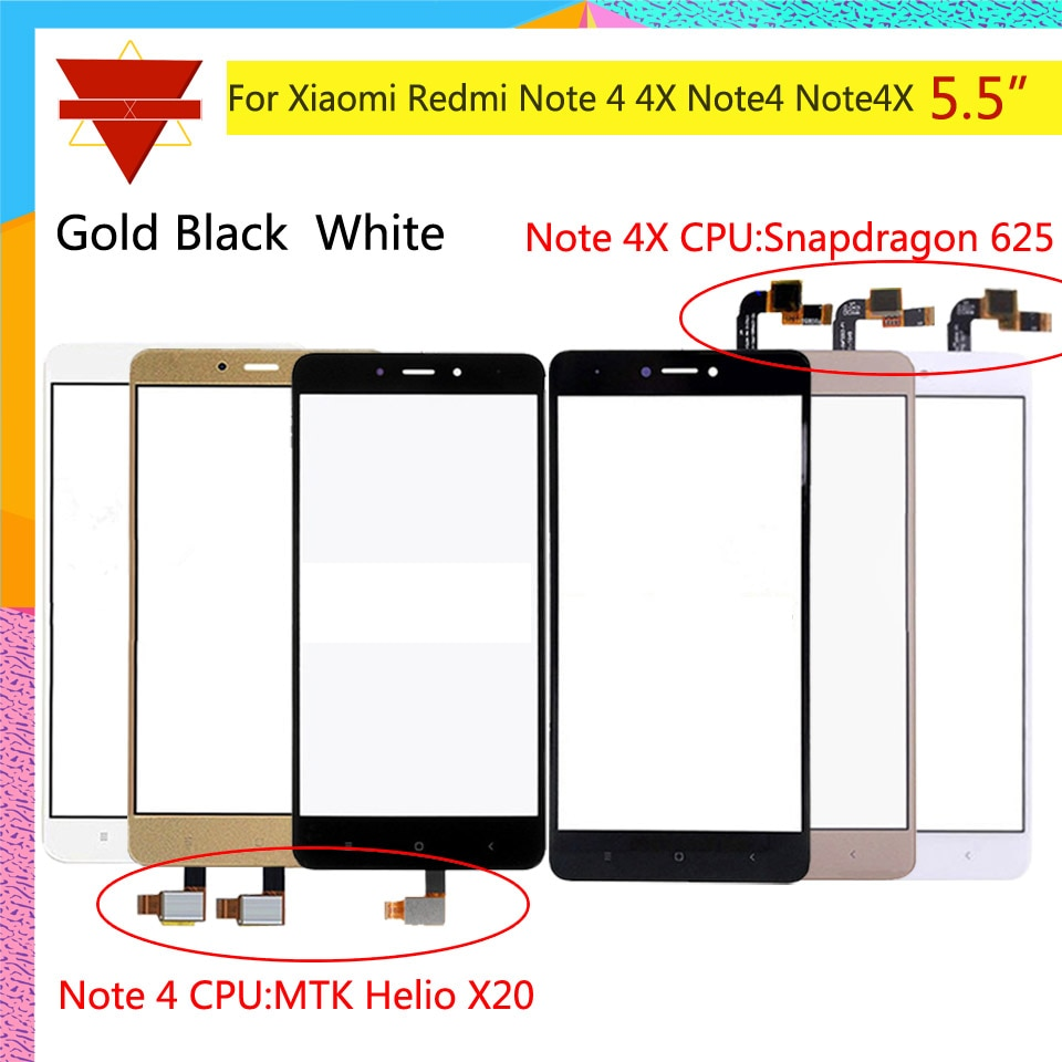 10pcs  lot pantalla táctil Original para Xiaomi Redmi Note 4 Redmi Note 4X Sensor de pantalla táctil LCD digitalizador frontal de vidrio exterior