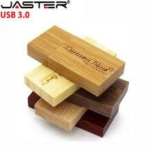 JASTER USB 3.0 customer LOGO Wooden USB Flash Drive rose wood pendrive 4GB 8GB 16GB 32GB Pen Drive Memory Stick wedding gift