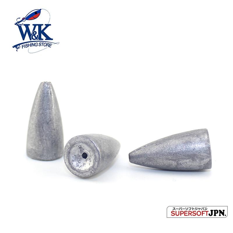 W & K Marca 2017 Nueva Bala De Plomo Pesca Pesca de Plomo Señuelo Suave Jig Head Bullet Forma Bajo 5g/7g/10g HL0021