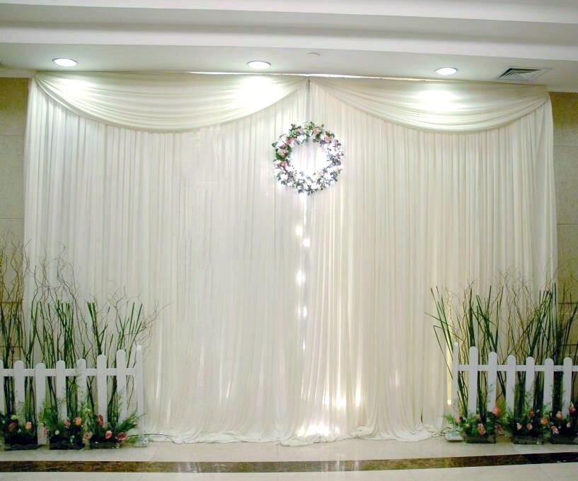 10x10ft estilo Simple de seda de hielo telón de fondo de la boda con la parte superior Swag color personalizado cortinas de decoración de la boda