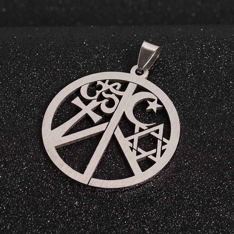 PandaHall 1pc x 44x39,5x1,5mm de acero inoxidable 304 de joyería de calidad colgantes de collar de signo de la paz con Ohm Aum estrella Cruz luna
