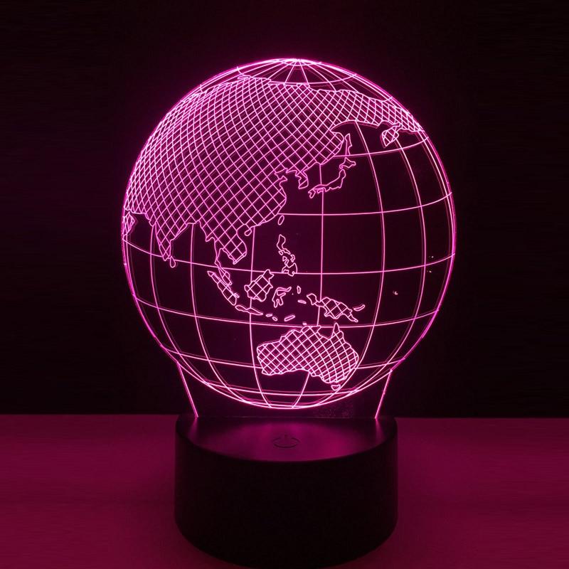 Cool Global 3D LED tierra globo mapa noche luz dormitorio Mesa RGB colorida lámpara RC juguete Halloween regalo de Navidad para la decoración de los niños
