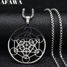 Ожерелье из нержавеющей стали для йоги, индийского буддизма, дерева цветов, женское серебряное ожерелье, ювелирные изделия, cadenas mujer N620S02