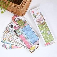 30 pièces/boîte créatif beau mignon chat signet papeterie signets Kawaii dessin animé cadeau promotionnel fournitures scolaires papelaria
