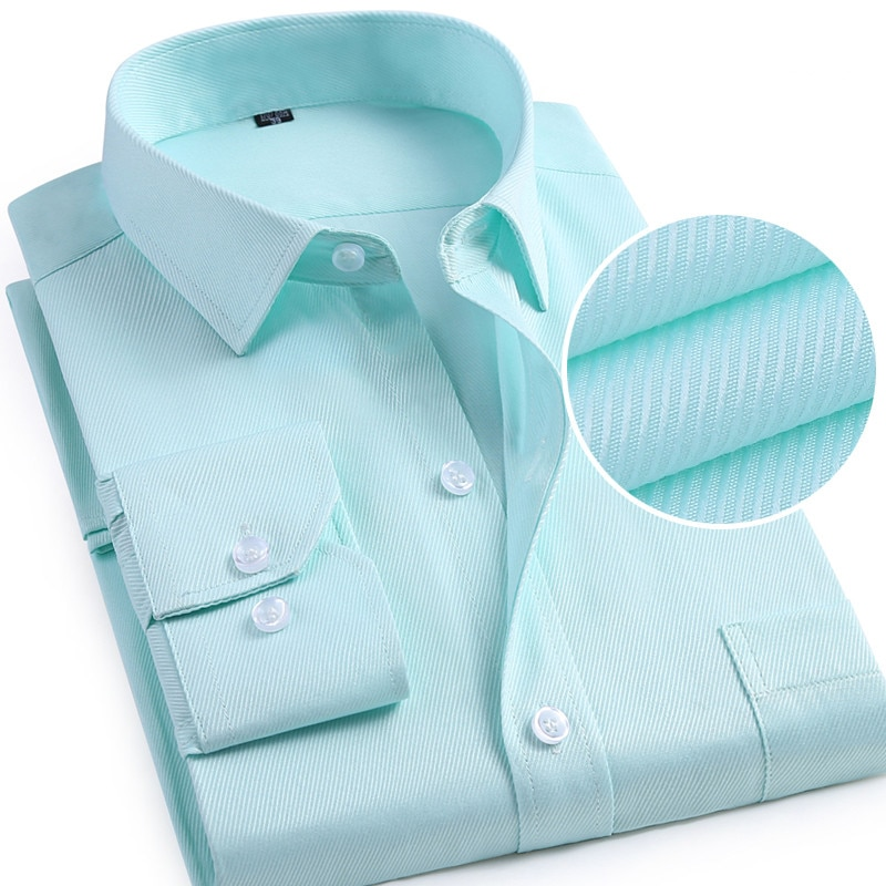 men formal dress shirts turn down collar full length chest pocket slim fit twill business  soft non-iron male tops