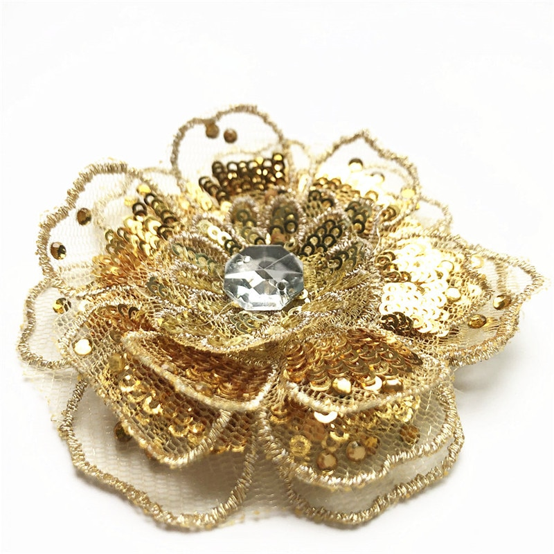 Parches bordados 3D de flores dorados de 8CM para coser, ajustes de encaje de malla, adornos multicapa para apliques para vestido de boda