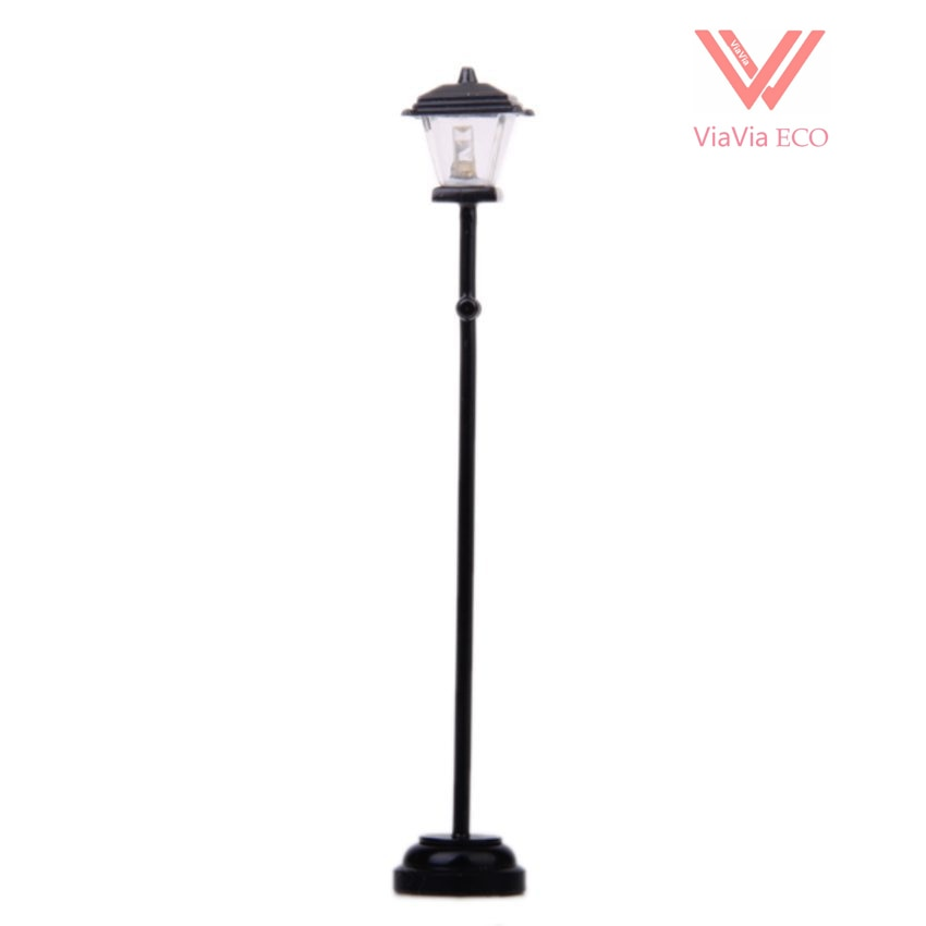 Omoys negro inalámbrico Metal 1/12 casa de muñecas miniatura jardín Led lámpara de calle modelo, luz cálida