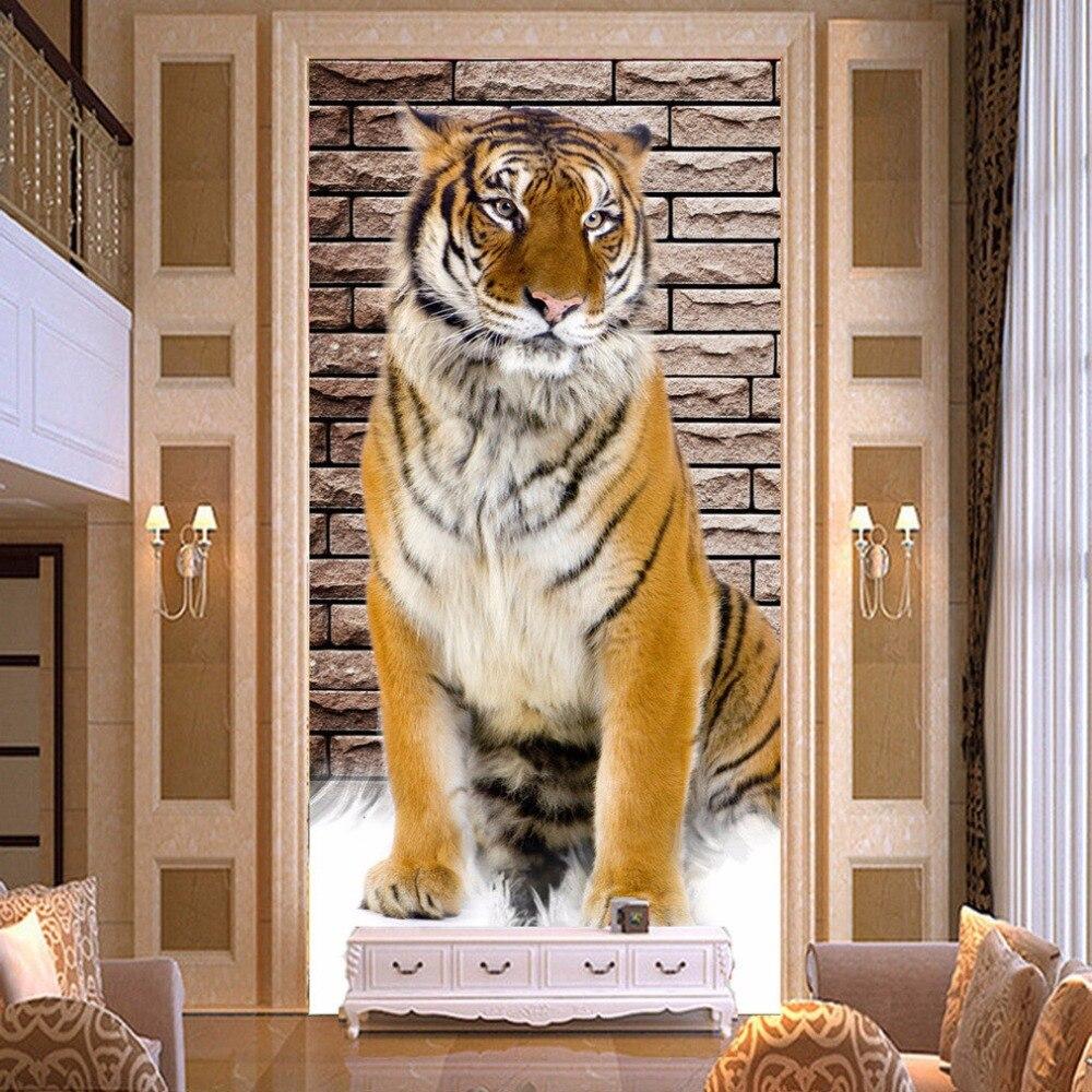 Mural de pared de fotos de tigre realista para sala de estar, pasillo de entrada, decoración moderna para el hogar, relieve 3D no tejido, papel tapiz de tamaño personalizado