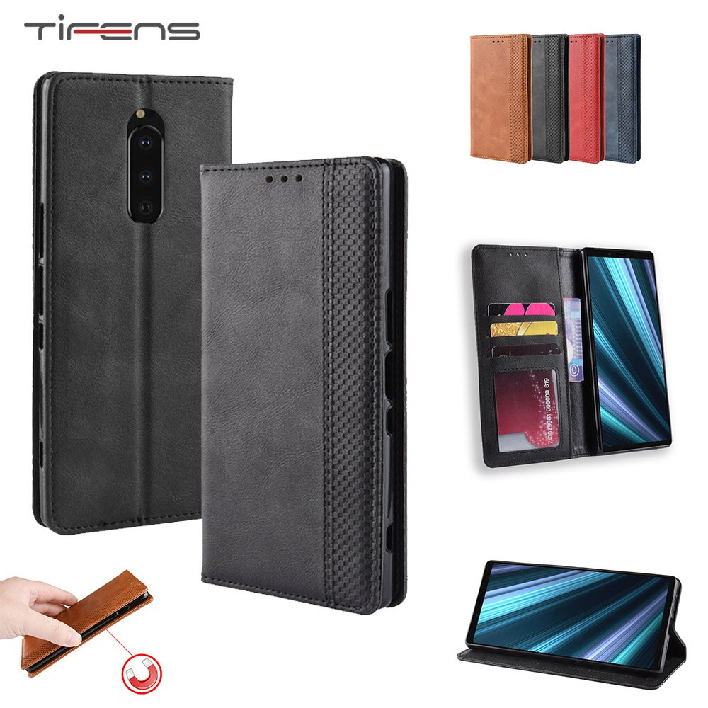 Teléfono caso para Sony Xperia L4 1 10 II 8 5 Plus L3 XZ4 compacto ACE de lujo PU de cuero, Flip magnético, tarjeta titular cartera cubierta suave
