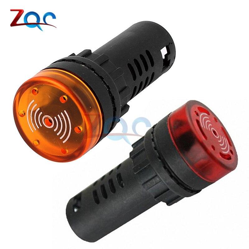 Indicador de zumbador de alarma LED de Flash AD16-22SM, lámpara de señal de luz, Flash DC 12V 24V AC 110V 220V, luz LED, indicador de alarma, Zumbador