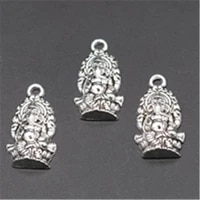 wkoud 15pcs silver color like god ganesa charms earrings necklaces diy jewelry alloy pendants findings a672
