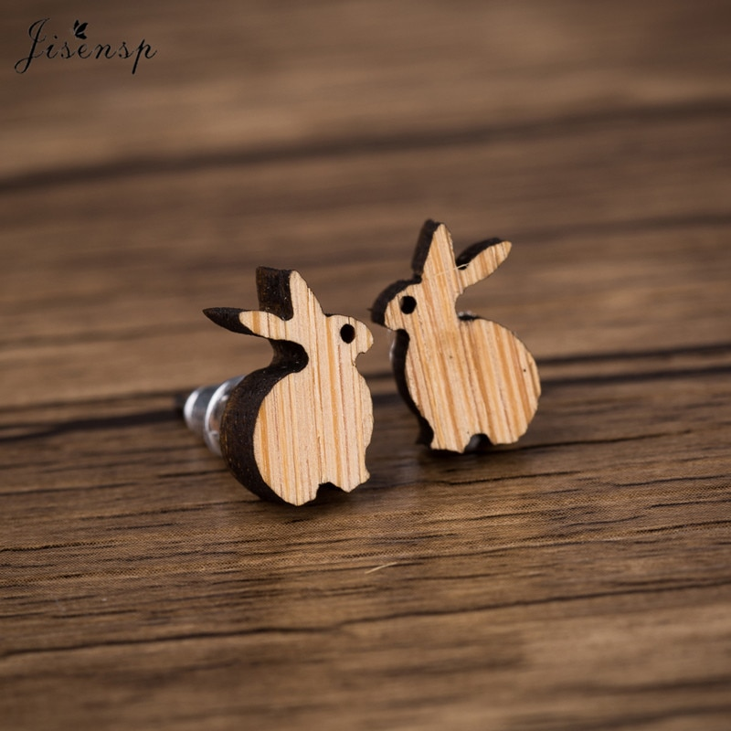 Jisensp Lovely Rabbit Women Earrings Female Cute Animal Wooden Earrings Jewelry Studs for Women Girl
