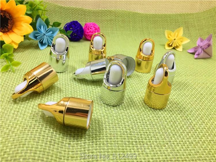 5 unids/lote de botellas de aceite esencial tapa oro/plata pegamento cabeza tapa tipo gotero flor cesta cuentagotas tapa con tubo de vidrio 5-100ml