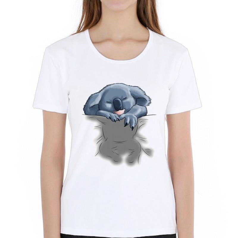 Novidade feminina personalizado streetwear t camisa verão básico menina camisetas moda bonito koala/pug dormir camiseta