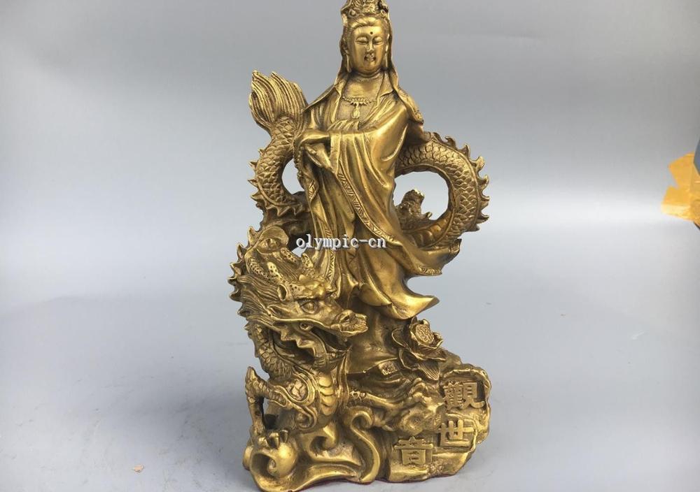 9 Classica Latão um buddism godness Guanyin Avalokitesvara Kwan yin-no Dragão