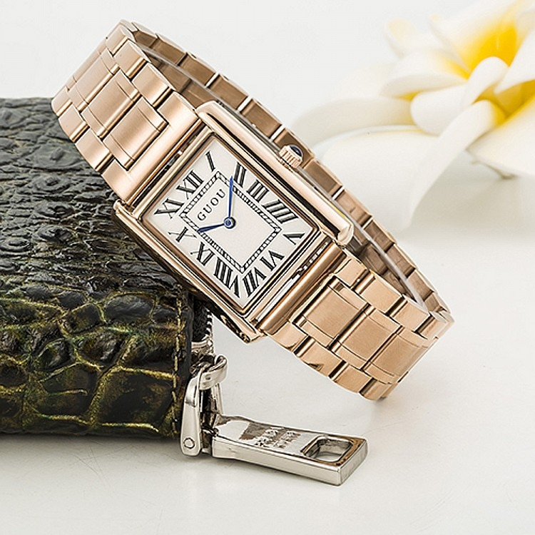 Guou-ساعة كوارتز فاخرة من سبائك الذهب الوردي للنساء ، ساعة يد نسائية ، مقاومة للماء ، 2019