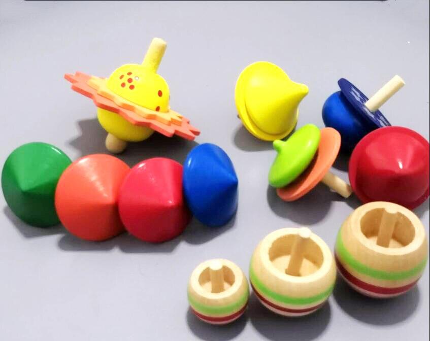 12pcs Children Mini Wooden Spinning Top Toys/ Kids Baby Cartoon Teetotum  Wood Gyro Non-Toxic Desktop Game Top Classic Toys