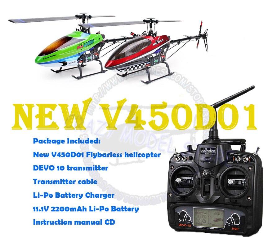 WALKERA nuevo V450D01 generación II 6 ejes giroscopio sin volante 6CH helicóptero w/DEVO 10 transmisor RTF