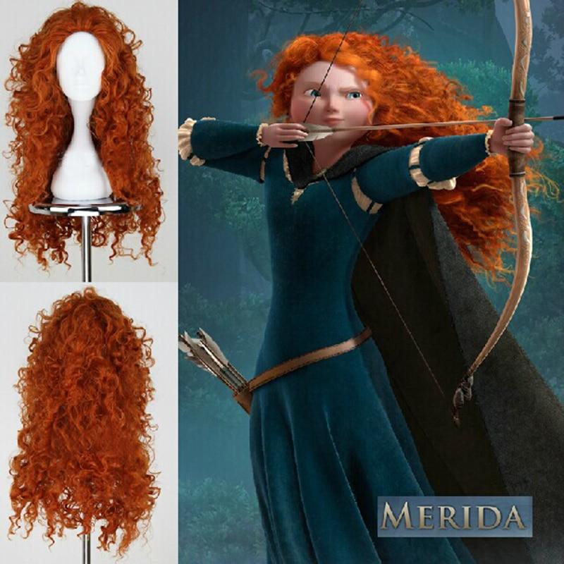 Film Brave Prinzessin Merida Cosplay Perücke Mei lida Wärme Beständig Lange Lockige Synthetische Haar Perücken + Perücke Kappe