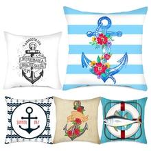 Fuwatacchi Meer Blau Kompass Gedruckt Kissen Cover Anker Muster Marine Schiff Werfen Kissen Fall Dekorative Kissen Cojines