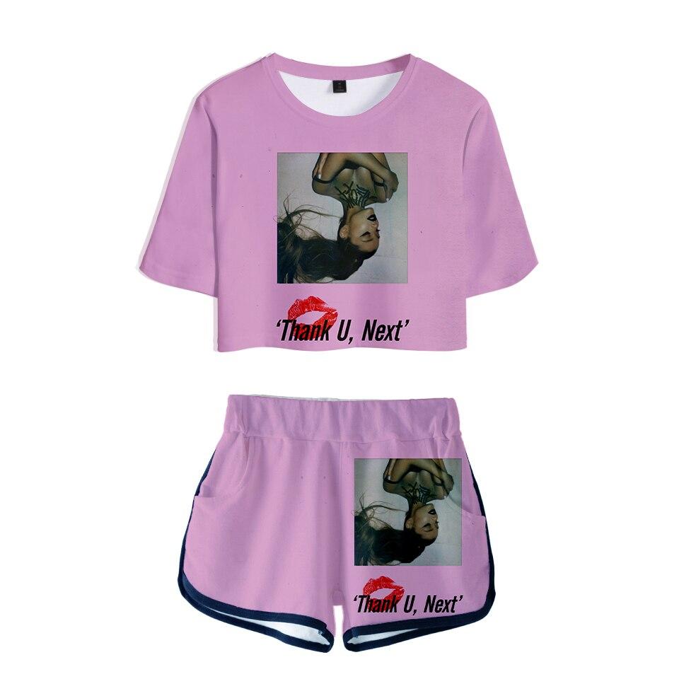 3D Ariana Grande navel Tshirt Two Piece Set + Short Pants Fashion Dew navel t shirt Girl Leisure Sets