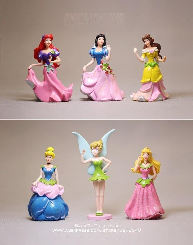 Disney Prinses Sneeuwwitje Ariel Assepoester Tinker Bell 8 cm 6 stks/set Action Figure Anime Mini Collectie Beeldje Speelgoed model gift